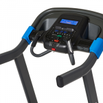 Console screen of the Horizon 7.0 AT treadmill. The treadmill features a fan, several buttons, a speaker and a tablet holder