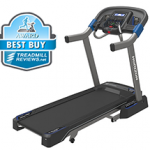 A side view angle of the Horizon 7.0 treadmill with a best buy badge in the top left corner