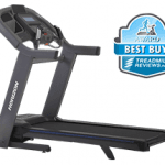 A side view angle of the Horizon 7.4 treadmill with a best buy badge in the top right