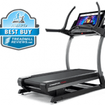 A side angle of the Nordictrack x32i incline trainer with a best buy badge in the top left corner
