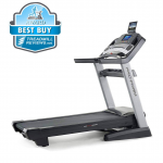 ProForm Pro 9000 treadmill with a best buy badge in the top left corner