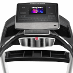 Console screen of the ProForm Smart Pro 2000 with an image of a man conducting a workout. The treadmill features a fan, several buttons, 2 cup holders and a speaker
