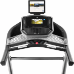Console screen of the Nordictrack C1070 Pro treadmill with an image of a music playlist. The treadmill features 2 cup holders, a tablet holder, several buttons and a speaker