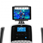 Console of the FS5i Freestride Trainer with an image of a woman conducting a workout. The trainer includes a cup holder, a speaker, several buttons and a tablet holder