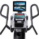 Console of the ProForm HIIT Pro Trainer Elliptical. This features a digital screen of a nature setting, 2 speakers, 2 cup holders, a fan and several buttons