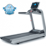 A fit man in athletic attire walking on the Landice L8 LTD Treadmill setting up his workout on n with a best buy badge in the top left corner