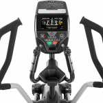 Console of the Bowflex LateralX LX5 machine. This machine includes a cup holder, a speaker, a tablet holder and several buttons