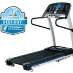 A side view angle of the Life Fitness F1 Smart Treadmill with best buy badge in the top left corner