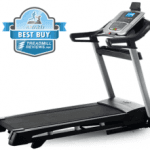 A side view angle of the Nordictrack C 990 Treadmill with a best buy badge in the top left corner