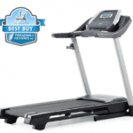 A side view angle of the ProForm 505 CST Treadmill with a best buy badge in the top let corner