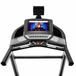 Console of the ProForm Smart Performance 800i Treadmill. This features a digital screen of workout being conducted, 2 speakers, a fan, a tablet holder, 2 cup holders and several buttons