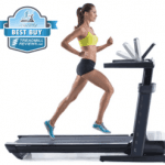 A fit woman in athletic attire running on the ProForm Thinline Pro Treadmill Desk with the best buy badge in the top left corner