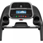 Console of the Horizon Adventure 5 Treadmill. This features 2 cup holders, a speaker, a tablet holder and several buttons