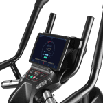 Console of the Bowflex Max Trainer M6. The trainer includes a cup holder, a speaker, a tablet holder and several buttons