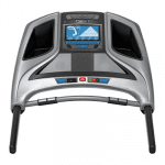 Console of the Horizon Elite T5 Treadmill. This features a digital screen, 2 speakers, 2 cup holders and several buttons